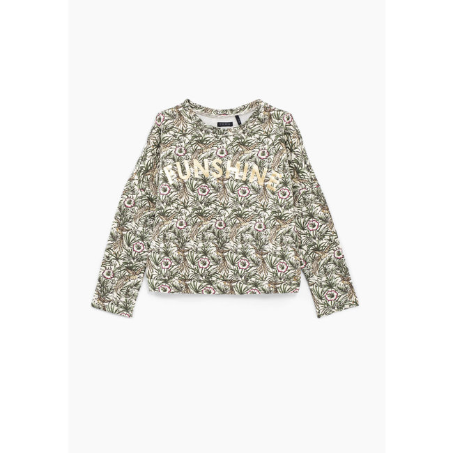 IKKS GIRLS' ECRU JUNGLE PRINT SWEATSHIRT WITH GOLDEN SLOGAN