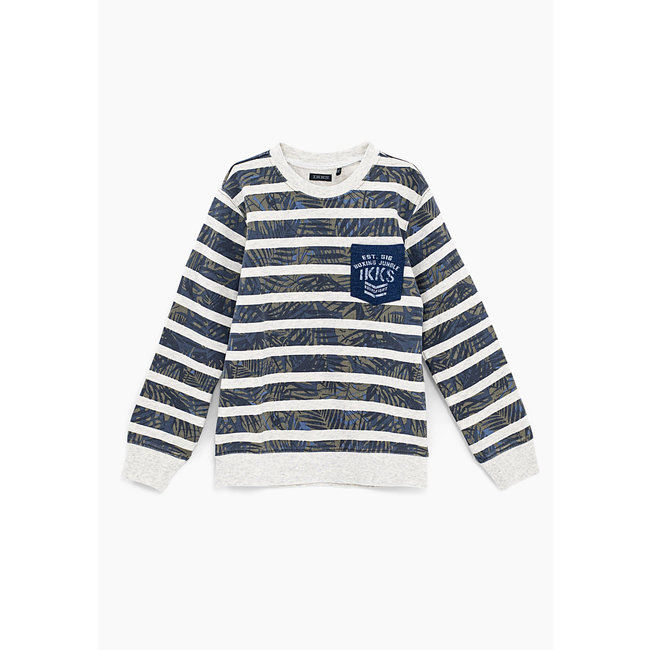 IKKS BOYS' PUTTY MARL PRINTED STRIPE SWEATSHIRT