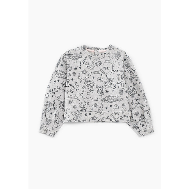 IKKS GIRLS' MEDIUM GREY MARL ROCK DRAWING SWEATSHIRT