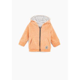 IKKS Baby boys' orange and white stripe reversible cardigan