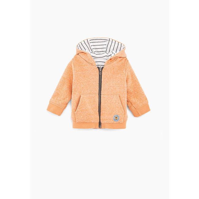 IKKS Baby boys' orange and white stripe reversible cardigan