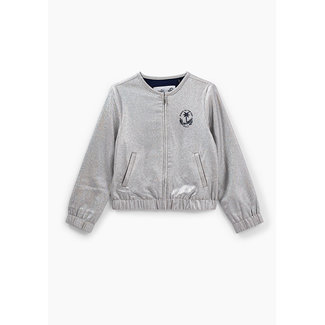 IKKS GIRLS' SILVER EMBROIDERED CHEST CARDIGAN