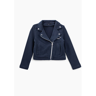 IKKS GIRLS' NAVY SWEATSHIRT FABRIC BIKER-STYLE JACKET