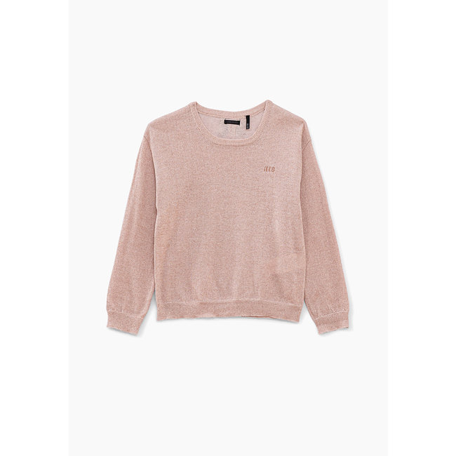IKKS GIRLS' MEDIUM PINK SWEATER WITH PRINTED BOWS ON BACK