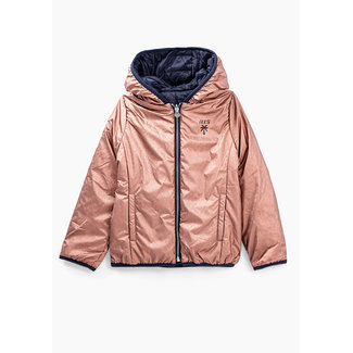 IKKS GIRLS' MEDIUM PINK AND NAVY REVERSIBLE PADDED JACKET