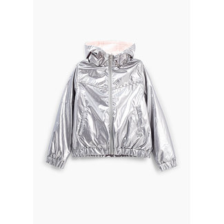 IKKS GIRLS' SILVER AND LIGHT PINK REVERSIBLE JACKET