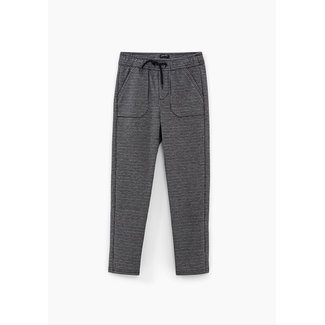 IKKS BOYS' BLACK CHECK SWEATSHIRT FABRIC TROUSERS