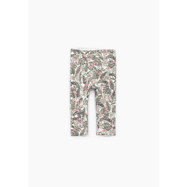 IKKS Baby girls' khaki jungle and white reversible leggings