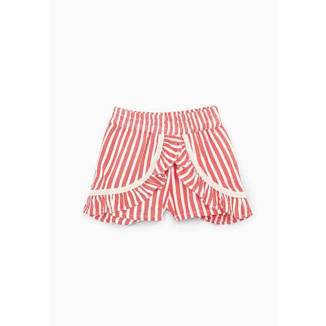 IKKS Baby girls' light red with white stripes skirt