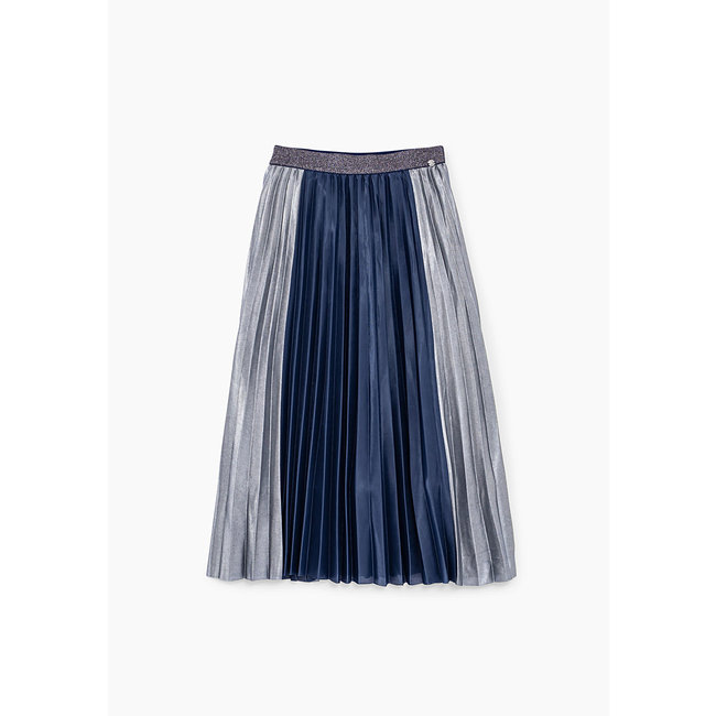IKKS GIRLS' NAVY AND SILVER PLEATED LONG SKIRT