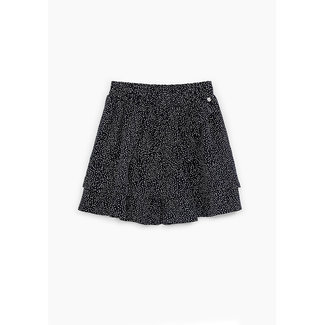 IKKS GIRLS' BLACK STAR PRINT RUFFLED SKIRT