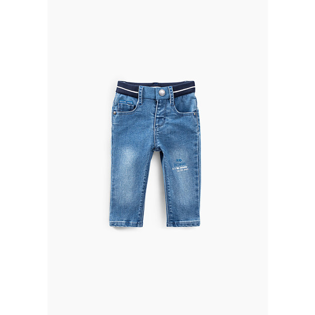 IKKS Baby boys' faded blue slogan recycled jeans