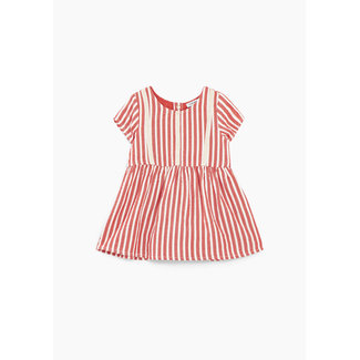 IKKS Baby girls' light red with white stripes dress