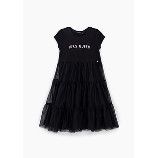 IKKS GIRLS' BLACK MIXED FABRIC DRESS WITH TULLE SKIRT
