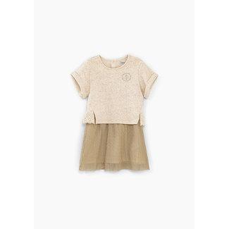IKKS Baby girls' light beige marl mixed fabric dress