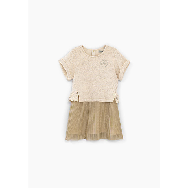 IKKS Baby girls' light beige marl mixed fabric dress