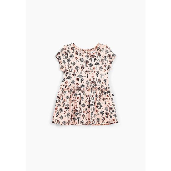 IKKS Baby girls' powder pink palm tree print dress