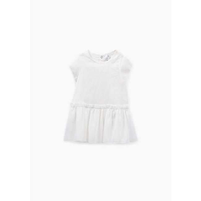 IKKS Baby girls' off-white iridescent cotton poplin dress