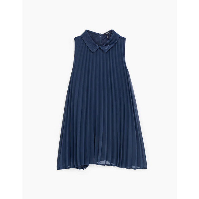 IKKS GIRLS' NAVY PLEATED DRESS WITH COLLAR