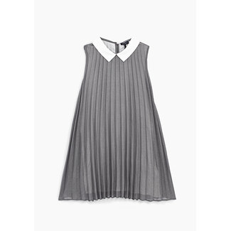 IKKS GIRLS' SILVER PLEATED DRESS WITH WHITE COLLAR