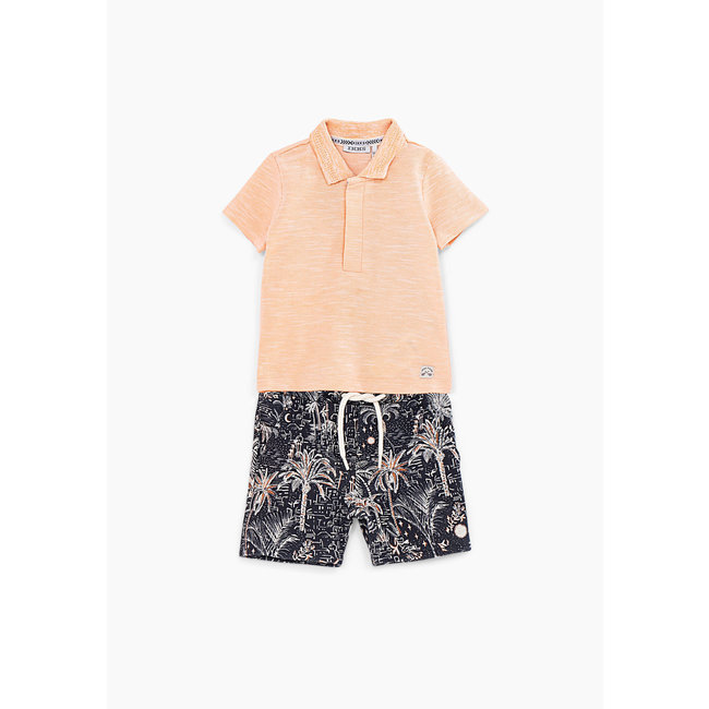 IKKS Baby boys' orange polo shirt and printed Bermudas set