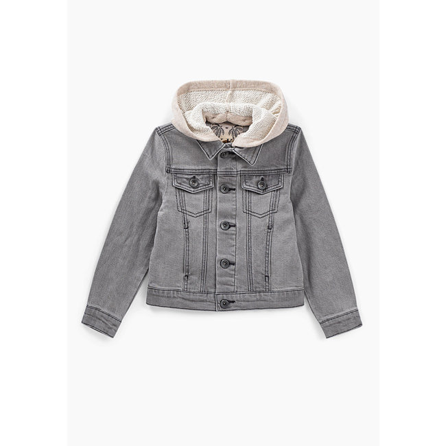 IKKS BOYS' BLEACHED GREY DENIM JACKET + SWEATSHIRT FABRIC HOOD