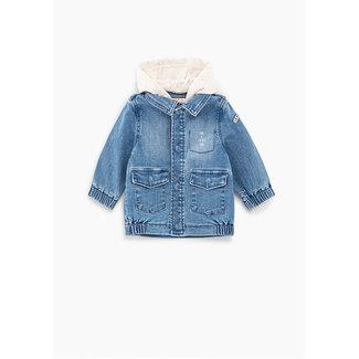 IKKS Baby boys' light blue organic denim hooded safari jacket