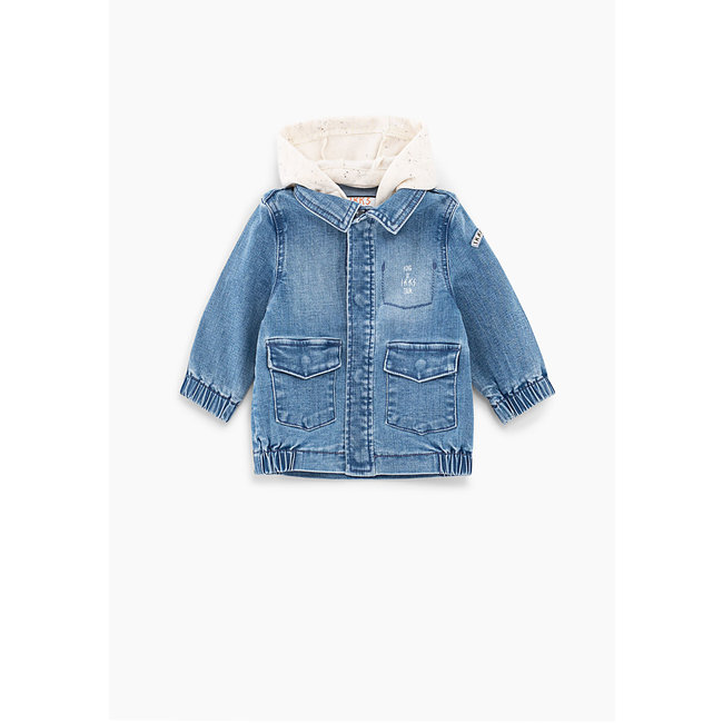 IKKS Baby boys' light blue organic denim hooded safari jacket