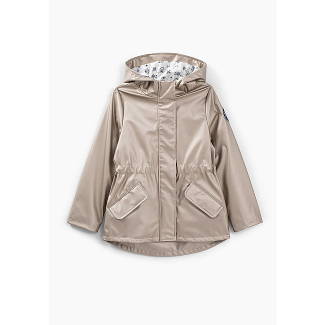 IKKS GIRLS' SILVER IRIDESCENT RUBBER TRENCH