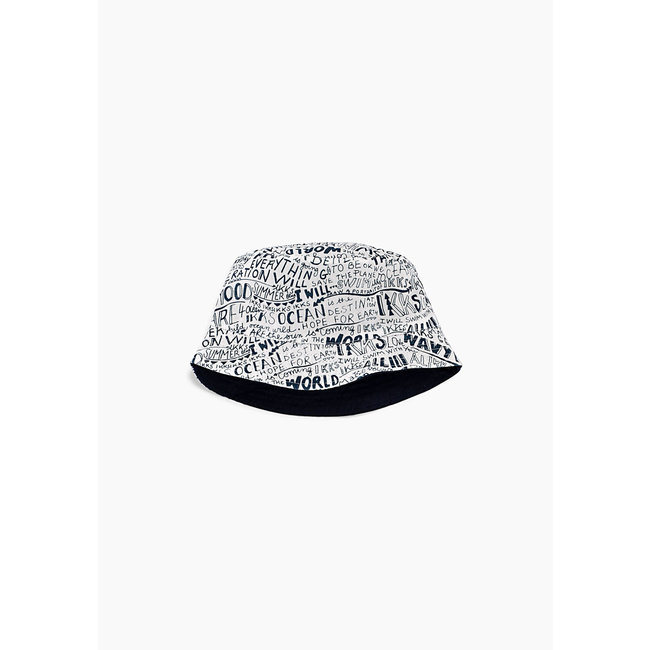 IKKS BOYS' NAVY AND WHITE LETTER REVERSIBLE SUN HAT
