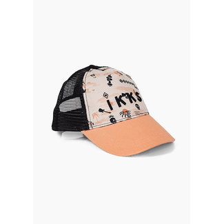 IKKS BOYS' BEIGE AND BLACK ROCK PRINT CAP