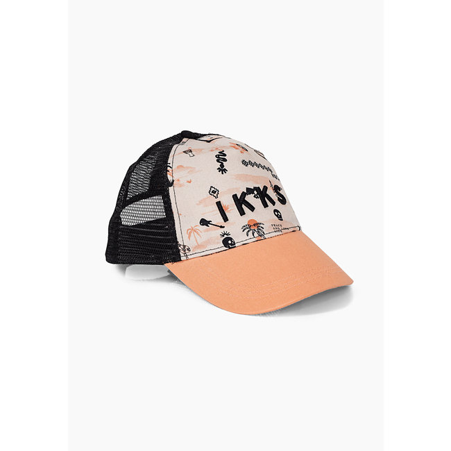 IKKS BOYS' BEIGE AND BLACK ROCK PRINT CAP