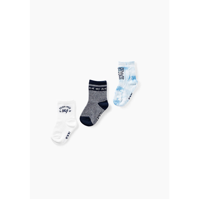 IKKS Baby boys' navy, white and sky socks