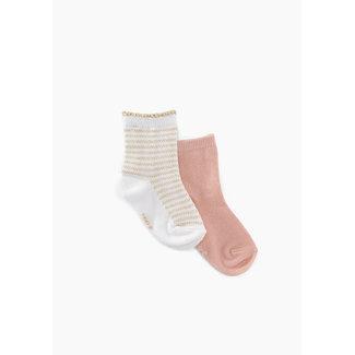 IKKS Baby girls' powder pink and white gold striped socks