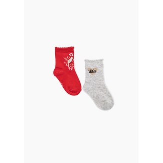 IKKS Baby girls' light red and grey socks