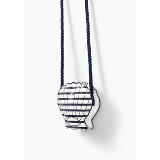 IKKS GIRLS' NAVY STRIPED SHELL-SHAPE BAG