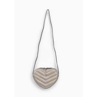IKKS GIRLS' SILVER TACHIST PRINT HEART SHAPE BAG