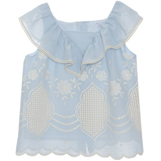PATACHOU BLUE EMBROIDERY BLOUSE