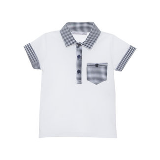 PATACHOU WHITE PIQUET POLO NAVY VICHY