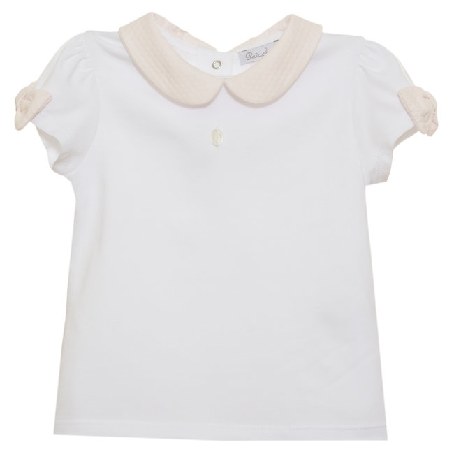 PATACHOU WHITE JERSEY T-SHIRT WITH PINK COLLAR