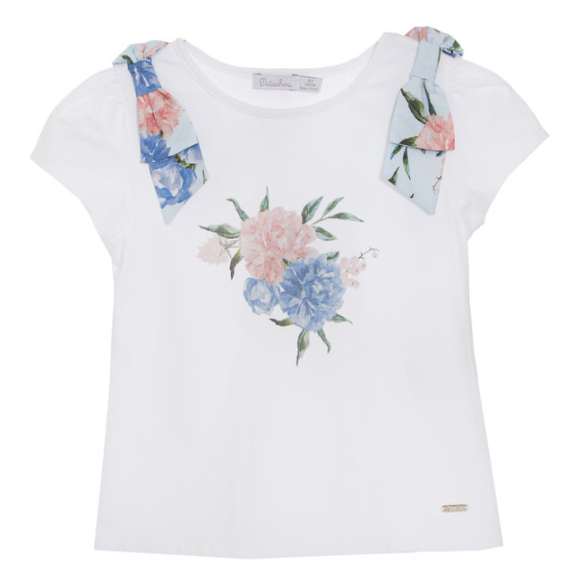 PATACHOU WHITE JERSEY T-SHIRT FLOWERS