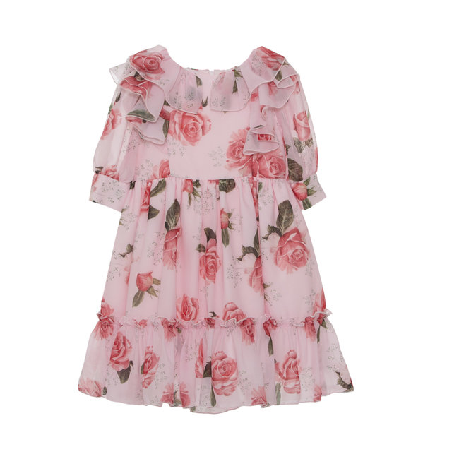PATACHOU PINK FLORAL CHIFFON DRESS