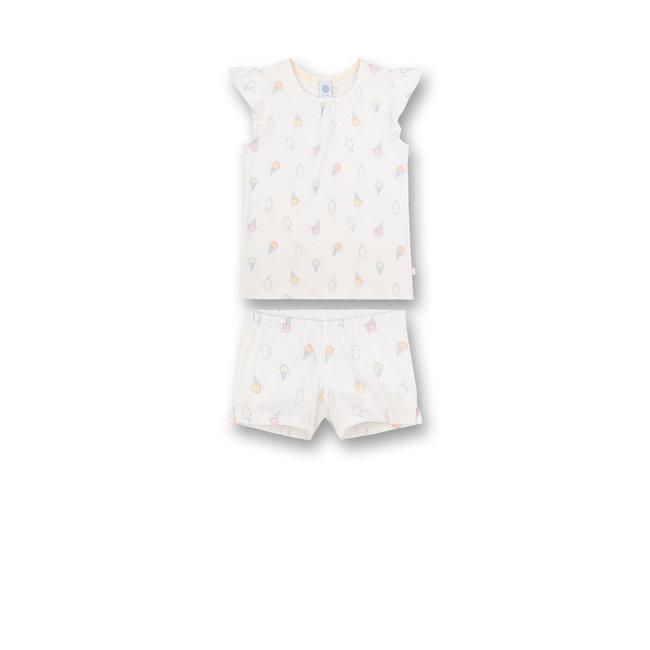 SANETTA Girls' pajamas short Off-White Sweet Summer
