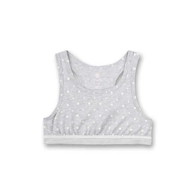 SANETTA Girls' bustier gray melange dots