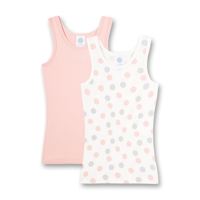 SANETTA Girls' undershirt (double pack) dots allover and pink