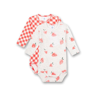 SANETTA Long-sleeved body (double pack) red and gray melange cutie pie