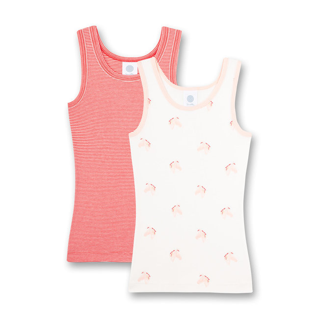 SANETTA Girls' undershirt (double pack) white and red ringed Happy Horse