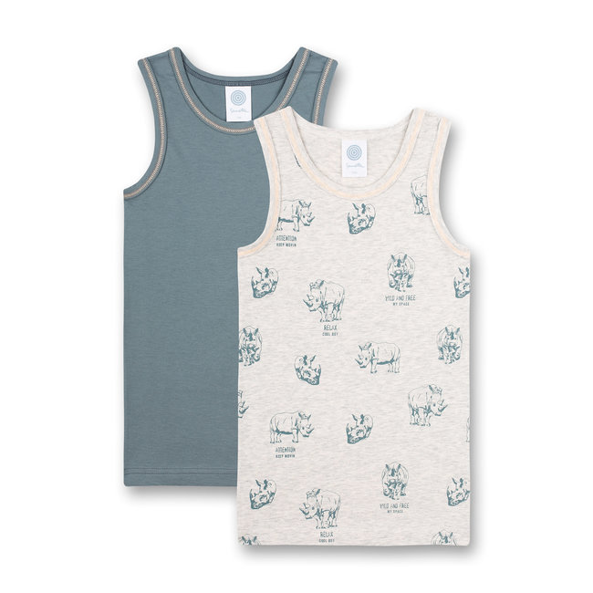SANETTA Boys undershirt (double pack) gray melange and dark green Wild at Heart