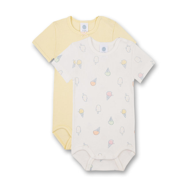 SANETTA Short-sleeved body (double pack) Off-White and Yellow Ice Baby