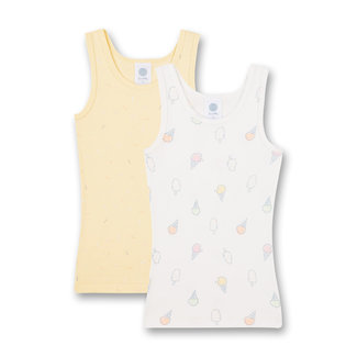 SANETTA Girls' undershirt (double pack) off-white and yellow Sweet Summer